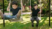 игривый : Boys on Swing Front View (HD). Two brothers of hispanic origin; six and four years old playing on a swing set.