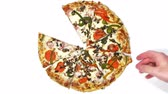 roubar : Pizza Slices Taken (HD). Pepperoni and vegetable pizza with slices taken by several hands over white.