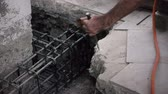 техника : Chiseling Concrete slab in a construction setting for demolition and repair. Second View Стоковые видеозаписи