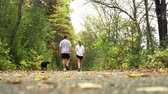 heterossexual : Young couple walking with their dog down a walking trail on a warm autumn day