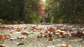 parkosított : Young girl jogging with her dog down a walking trail on a warm autumn day.