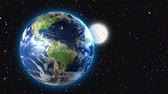 трехмерным : 3D animation of Earth and moon rotating in space. can be looped. Стоковые видеозаписи