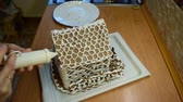 cannella : Dressing gingerbread house at home. Filmati Stock