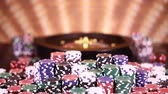 Poker Chips, Roulette wheel in motion Stock Footage