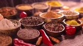 curry : Spices and herbs in wooden bowl Colorful spices