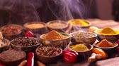 cominho : Smoke, Aromatic spices on wooden background