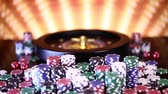 Poker Chips, Roulette-Rad in Bewegung
