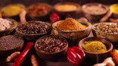 дегустация : Spices on wooden bowl background