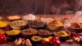 kardamon : Assorted Spices and wooden bowl of smoke