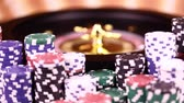 kumarbaz : Poker Chips, Roulette wheel in motion Stok Video