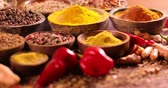 curry : Smoke, Aromatic spices on wooden background