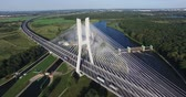kablo : Modern bridge over the river, aerial drone