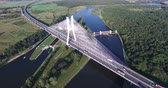 ponte : Modern bridge over the river, aerial drone