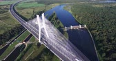 подвесной : Bridge rope over the river, aerial drone