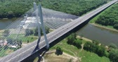 ponte : Bridge on river, aerial drone Vídeos