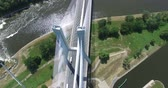 подвесной : Modern bridge over the river, aerial drone