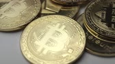 e commerce : coins bitcoin slowly rotate closeup Stock Footage