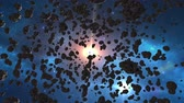 ремень : Beautiful flying through the asteroid belt in outer space. The collision of asteroids, hyperspace