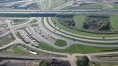 autó : Aerial view of traffic passing by Dutch highway A6 and exit Het Oor Almere