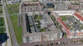 evler : Aerial view of Europakwartier West, Almere Poort, The Netherlands Stok Video