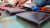 cep : leather wallet background Stok Video