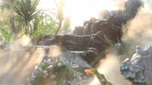 fog steam with waterfall in the garden Wideo