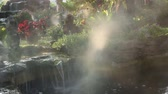 vapor : fog steam with waterfall in the garden Stock Footage