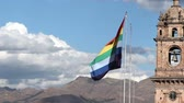 jezus : Flag Of Cusco Peru In Plaza De Armas Wideo