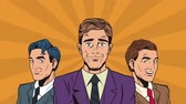 patron : Pop art businessmens teamwork cartoons High definition animation colorful scenes