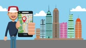karikatury : Man using GPS app from smartphone at city cartoons High definition coloful animation scenes
