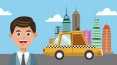 karikatury : Businessman taking taxi at city cartoons High definition coloful animation scenes Dostupné videozáznamy