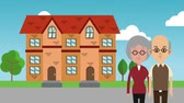 metropol : House and grandparents cartoon High definition colorful animation scenes