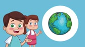 acadêmico : Cute kids showing earth planet High Definition animation colorful scenes Stock Footage