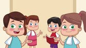 karikatury : Cute school students kids cartoons High Definition animation colorful scenes