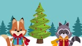 лиса : Cute fox and raccon with giftboxes at landscape High definition animation colorful scenes