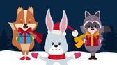 лиса : Cute animals with giftboxes at snow High definition animation colorful scenes