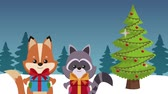 лиса : Cute fox and raccoon with giftbox and christmas tree High definition animation colorful scenes