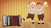 баварский : Bavarian mens celebrating with sausages and beer and accordion music High definition colorful scenes animation Стоковые видеозаписи