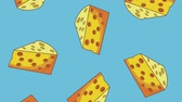 gıda maddesi : Cheeses falling over blue background High definition colorful scenes animation Stok Video