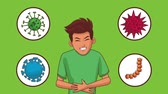 pancreas : Young man with stomach ache cartoons high definition animation colorful scenes Stock Footage