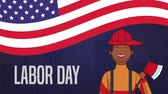 itfaiyeci : Happy labor day and firefighter and usa flag high definition animation colorful scenes Stok Video