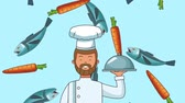 reclutamiento : Male chef holding dish over fishes and carrots falling background high definition animation colorful scenes