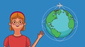 around the world : Young woman and world with airplane circling around high definition colorful animation scenes
