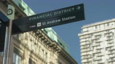 establishing shot : Financial District Sign Panning Shot. Stock Footage