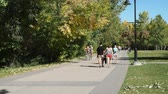 People enjoying Calgary pathway system on September 21, 2014 in Calgary, Alberta. Calgarys pathways extend for hundreds of kilometers and are incredibly popular.