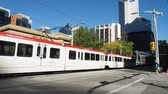 Calgarys C-Train on on September 21, 2014 in Calgary, Alberta Canada. The C-Train is the main rapid transit commuter link for the city of Calgary. It is light rail.