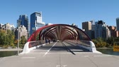 the Peace Bridge on September 21, 2014 in Calgary, Alberta Canada. The pedestrian bridge spans the Bow River and was designed by Santiago Calatrava.