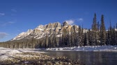 Time lapse of scenic Bow river and Castle Mountain in winter Banff National Park Alberta Canada
