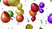 1080 HD video of multi-colored balloons falling from above over a white background. Includes alpha matte (16:9). Stock Footage