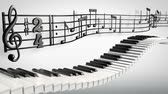 1080p HD stock video animation of dancing piano keys and music notes waving above. Stock Footage